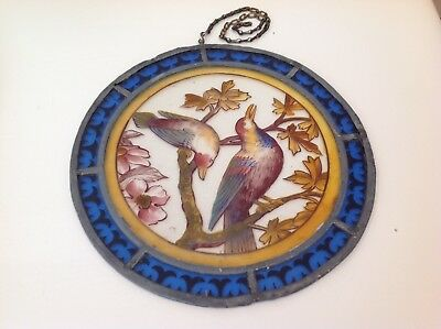 Victorian Painted Birds Stained Glass Roundel with Hanging Chain