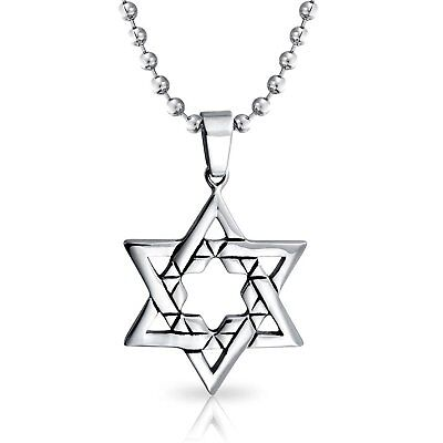 Bling Jewelry Mens Large Jewish Star of David Religious Pendant Stainless Steel