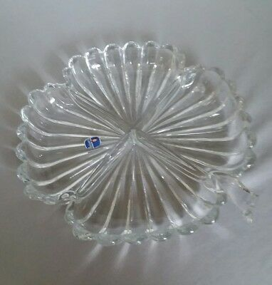 Vintage Heisey Crystolite 4 Leaf Clover Divided Relish Dish Glass Bowl Clear