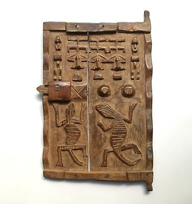 Vintage African Dogon Tribe Wood Granary Door, Early to Mid 20th Century Mali