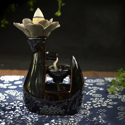 8*10 Black Ceramic Glaze Incense Smoke Cone Burner Backflow Censer Tower Holder