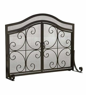 Large Crest Fireplace Screen with Doors, Solid Wrought Iron Frame with Metal 44