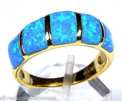 Blue Fire Opal Inlay 18kt Yellow Gold Plated Over Sterling Silver Band Ring 6-9