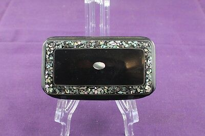 Vintage Black Lacquer Paper Mache Snuff Box  Mother of Pearl Inlay