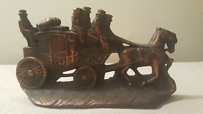 Vintage Cast Iron W.H. Howell Co. Stagecoach Doorstop Bookend Antique US Company