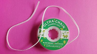 10 Dental Orthodontics Elastic Ultra Power Chains White 15 Feet Continuous CE