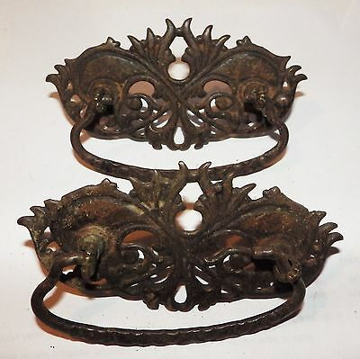 2 Large Antique Victorian Cast Steel Drawer Pulls
