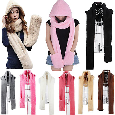 Shawl Hot Gloves Scarf Hat Winter Hoodie Super Long Warm Women Girls US Fleece