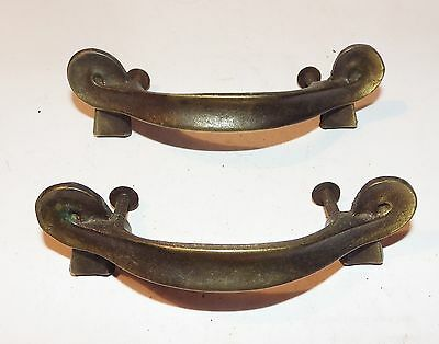 Set of 2 Solid Brass Ribbon Style Drawer Pulls