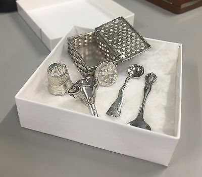 Sterling Silver spoons thimble, buttonhook, buckle and more