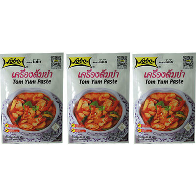 TOM YUM PASTE Thai food spicy soup cooking ingredients HALAL 30G X 3 by Lobo