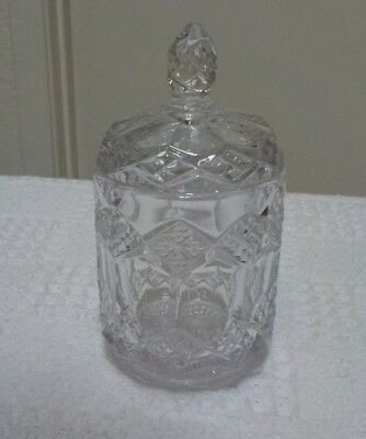 CRYSTAL  condiment jar WITH PATTERN