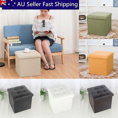 Folding Ottoman Sofa Storage Cube Footstool Stool Blanket Box Leather Linen New