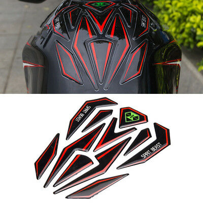 3D Gel Waterproof Motorcycle Oil Gas Fuel Tank Pad Protector Sticker Decal Red