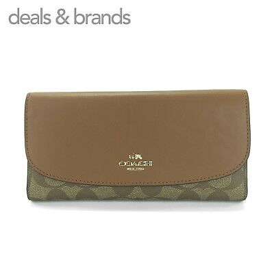 d8687cff2ae6 NWT COACH Signature Coated Canvas Checkbook Wallet F57319 KHAKI SADDLE MSRP   250