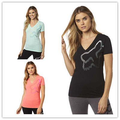 Fox Racing Women's Perfor V neck Tee S/Sleeve Casual T-shirt Top Size XS-XL