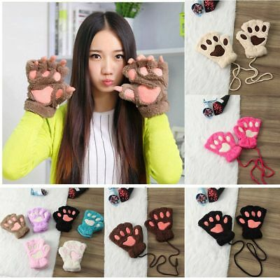 Cute Soft Warm Winter Women Paw Gloves Fingerless Fluffy Bear Cat Plush Paw Gift