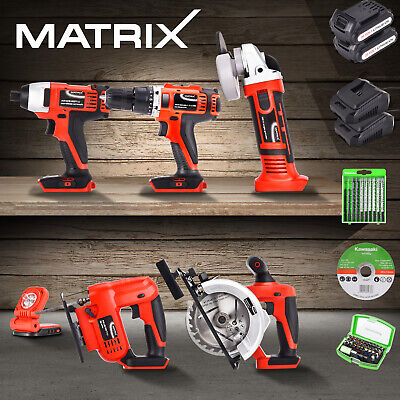 Matrix Battery Cordless Hammer Drill Angle Grinder Circular Saw Power Tool Set
