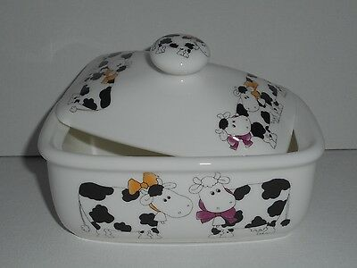 BN Pair of Cartoon Cows China Butter dish, Uk China, Cow Butter Dish, Cow Gift