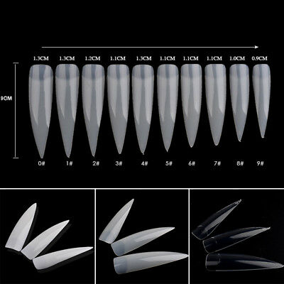 500x Nail Art Tips Oval Stiletto Pointy Full False Almond Shape Acrylic Gel Claw