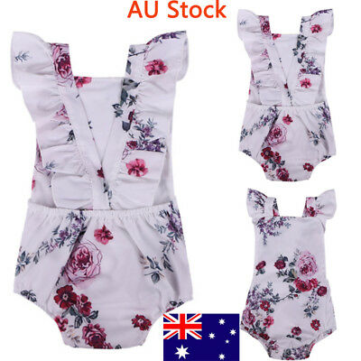 Newborn Baby Sleeveless Romper Toddler Girls Floral Jumpsuit Infant Soft Outfit