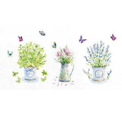 DIY Wall Stickers Home Decorative Pots Butterfly Kitchen Window Glass Bathr Q1H5
