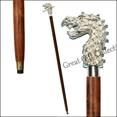 SILVER PLATED Head DRAGON Handle Wooden Walking Stick Canes Shaft Brass Collar