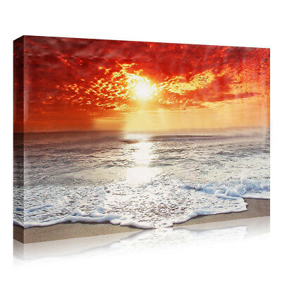 Seaside Sunset Scenery Canvas Print Painting Picture Unframed Wall Art Deco R4G7