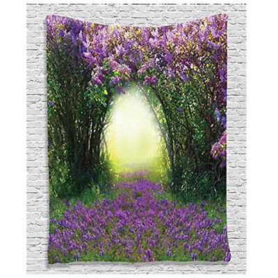 Country Home Decor Collection, Magic Misty Forest Spring Blossoms Bushes Gr W7I2