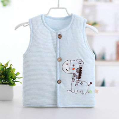 Baby Infant Cartoon Clothes Button Vest Thickening Warm Pure Cotton Soft