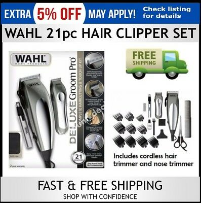 Wahl Mens Hair Clippers Haircut Set Trimmer Beard Shaver Electric Cordless Nose