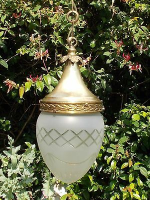 Antigue French  brass lantern /ceiling lamp ca 1900  cut frosted crytal