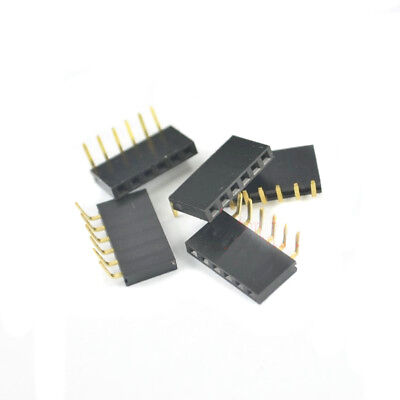 10Pcs 1X6 Pin 2.54Mm Female Connector Pin Header Single Row Right Angle Ic BSG