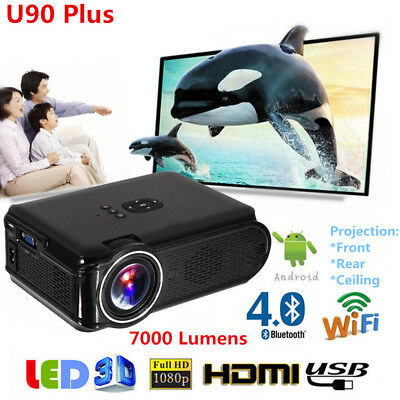 1080P Full HD Wifi Android 6.0 Bluetooth LED Projector Home Theater HDMI VGA Lot