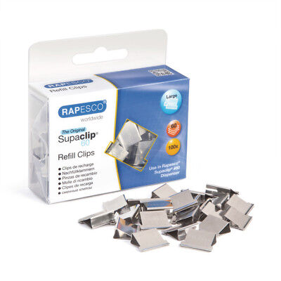 Rapesco Supaclip 60 Clips - Cp10060S - Stainless Steel-  Pack Of 100 - Free P&p