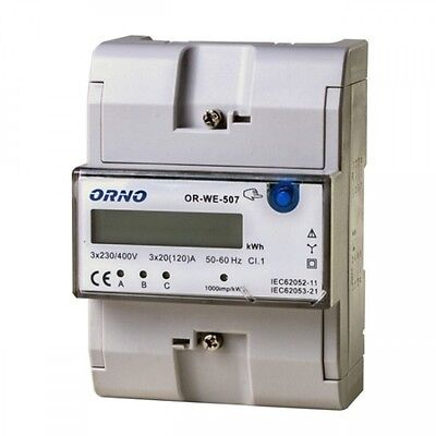 Three-Phase Meter Electricity Meter Counter 3-Phase 3 x 120A LCD Top Hat Rail