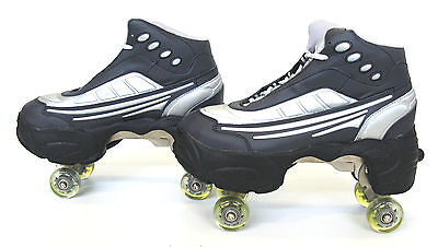 BUY1 GET 2nd 50% OFF Quad KICK ROLLER Skates retractable WALKnROLL BN black/slvr