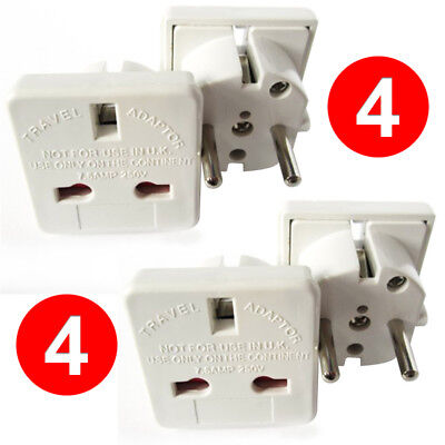 [4 PACK] UK to France Germany Hungary Poland Portugal Spain Travel Plug Adapter