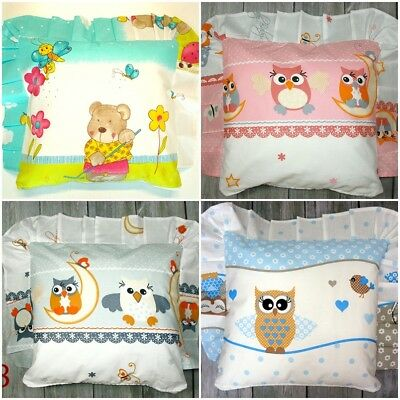 BABY PILLOW case +inner COTTON for COT CRIB PRAM patterned with DECORATIVE FRILL