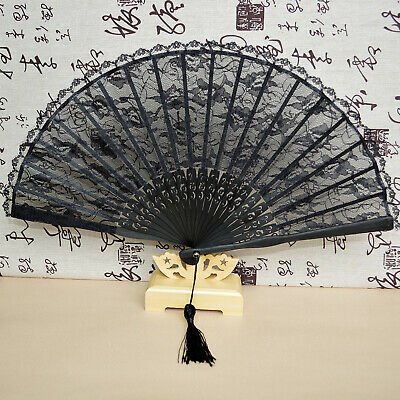 Lady Ladies Vintage Hand-Held Black Bamboo Lace Decorative Folding Fan Kimono