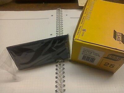 Box of 25 ESAB welding lens shade 13. glass size 110 mm x 60 mm  green tinted.