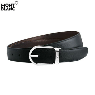 MONTBLANC Mens Classic Reversible Saffiano Leather Belt 113834 Black & Brown New