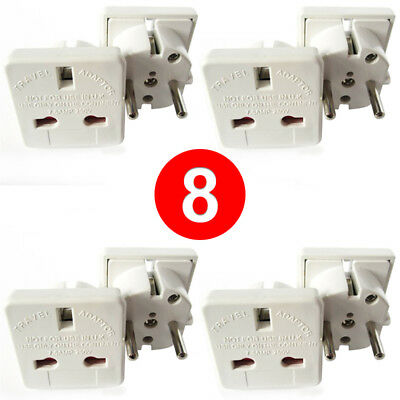 [8 PACK] UK EU EURO Europe Travel Power Plug Adapter Charger Outlet Converter