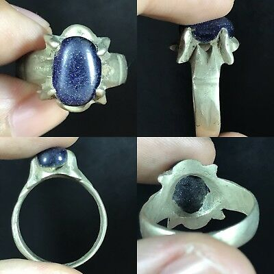 Lovely Roman Ancient Bronze Glass Ring