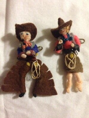 Antique Pair Of 1940's Felt Cowboy & Cowgirl Pins Brooches ~ RARE