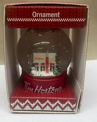 2015 Tim Horton's Cafe Mini Snow Globe Christmas Tree Ornament Decoration Xmas