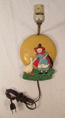 Vintage MOTHER GOOSE Wall Lamp Light Fixture Baby Nursery Child's Room Antique