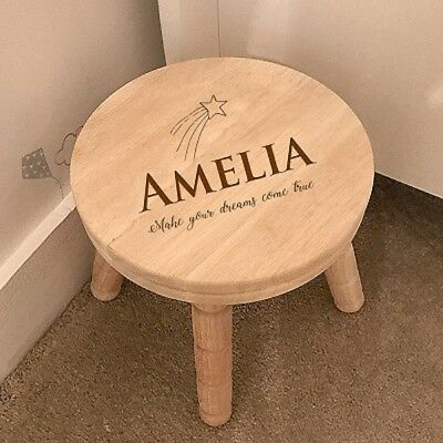 Personalised Rubber Wood Children's Stool ~ Christening / Birthday Gifts