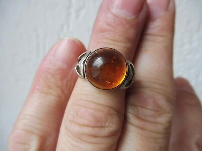 Beautiful, Old RING__835 Silver __ with Amber __