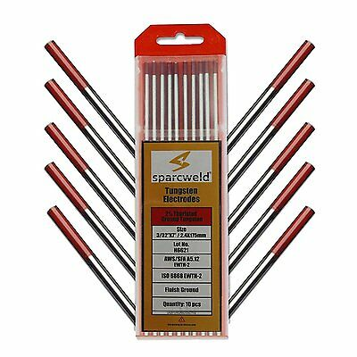 "Tungsten Electrodes 2% Thoriated Red, WT20, 10-Pack,3/32""x7"""